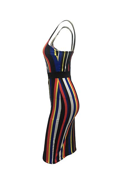 Sin mangas de cuello Qmilch atractiva V de la envoltura vestidos de mitad de la pantorrilla