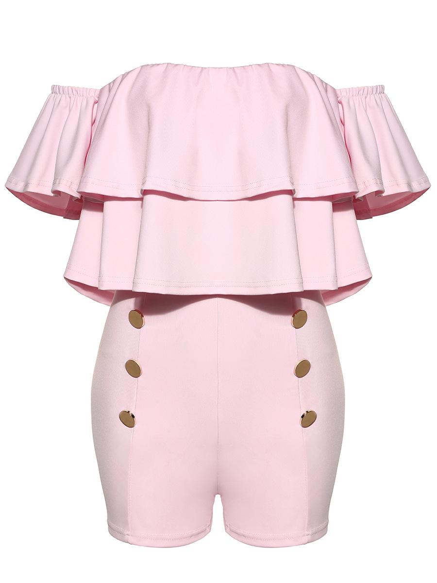 Encantador pescoço barco mangas curtas Falbala Design rosa saudável tecido uma peça magro Jumpsuits