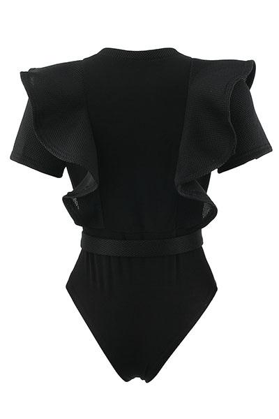 Sexy cuello redondo mangas cortas See-Through negro poliéster de una sola pieza Skinny Jumpsuits