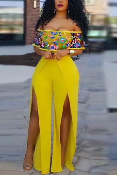 Elegante manga de cuello mangas cortas de alta división de color amarillo sano Tejido de una pieza mono