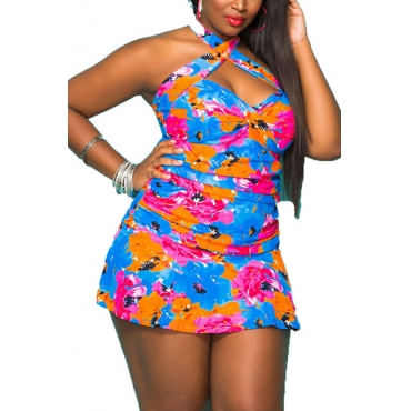 Sexy Halter Neck Printed Backless Polyester One-piece Swimwear