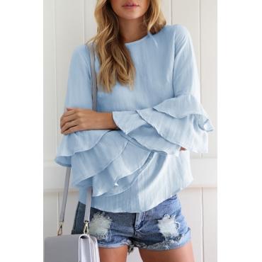 Fashion Round Neck Long Sleeves Falbala Design Light Blue Cotton Shirts