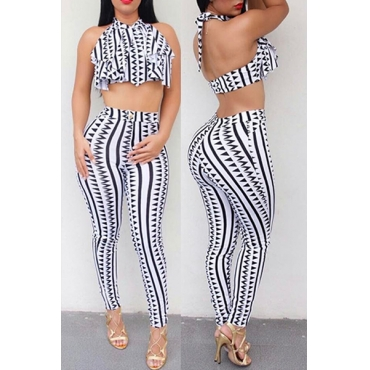Multi Qmilch Pants Striped O neck Sleeveless Casual Two Pieces