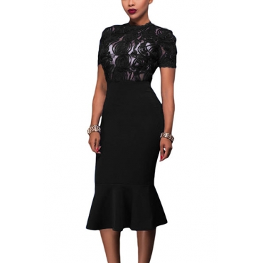 Sexy Round Neck Short Sleeves See-Through Black Polyester Sheath Mid Calf Dress