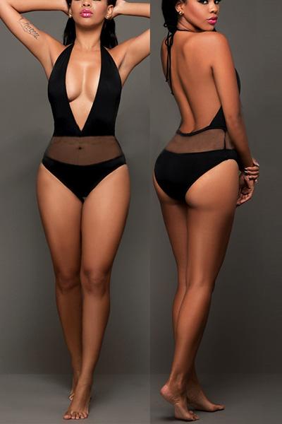 Vestito profondo sexy del collo di V del V di Swimwear un pezzo nylon nero
