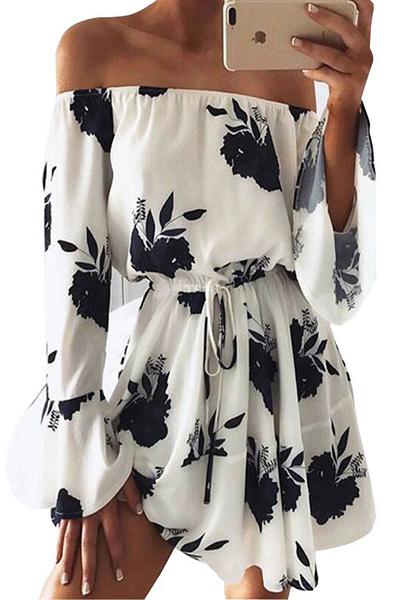 Polyester Fashion Bateau Neck Long Sleeve Mini Dresses