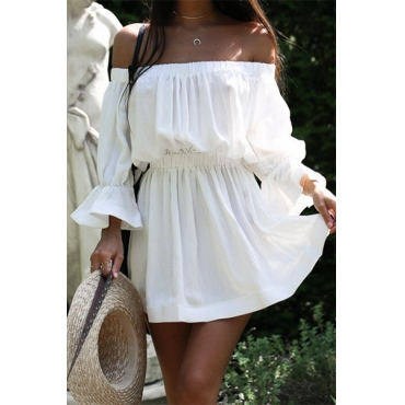 Cotton Blend Sexy Bateau Neck Three Quarter Mini Dresses