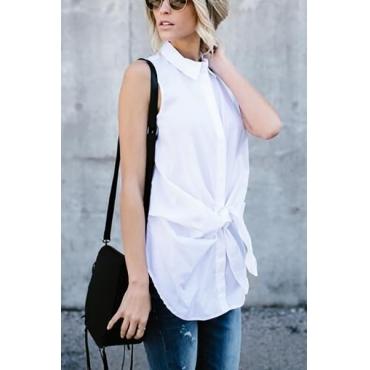 Cardigan Cotton Mandarin Collar Sleeveless Solid Blouses&Shirts