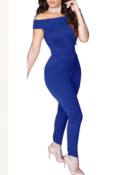 Sexy Dew Shoulder Bow-Tie Decoration Blue Blending Цельные комбинезоны