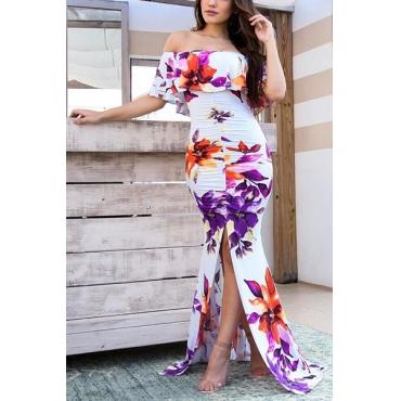 Charming Dew Shoulder Short Sleeves Printed White Milk Fiber Sheath Floor Length Dress