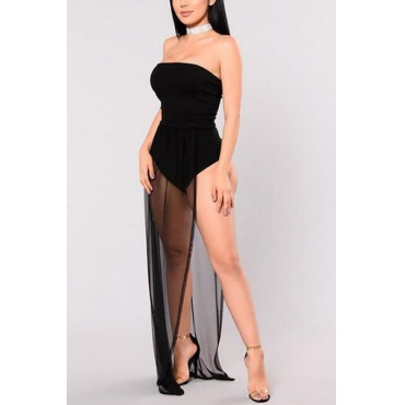Sexy Dew Shoulder Yarn Splicing Black Gauze One-piece Skinny Jumpsuits
