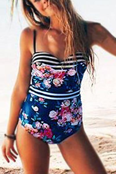 Euramerican Spaghetti Strap Sleeveless Floral Print Polyester One-piece Swimwear