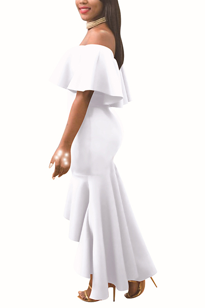 Charming Dew Shoulder Falbala Design White Polyester Ankle Length Dress