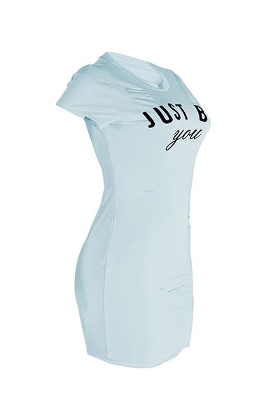 Leisure Round Neck Short Sleeves Broken Holes Skyblue Polyester Mini Dress