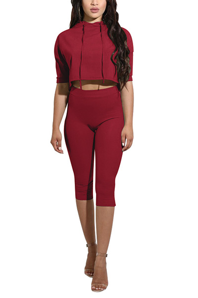 Fashion Hooded Collar Short Sleeves Wine Red Qmilch Two-piece Shorts Set