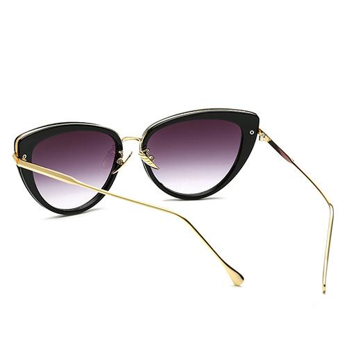 Fashion Cat's eye Design Black Metal Sunglasses