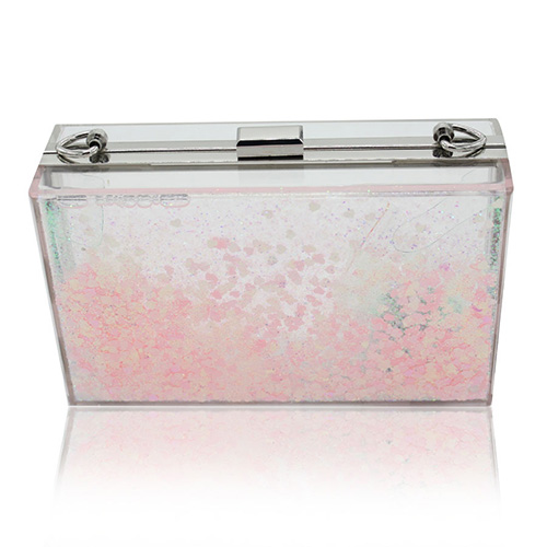 Fashion Sequined Decorative Pink PVC Clutches Bags