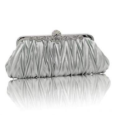 Fashion Silver Satin Clutches Bags