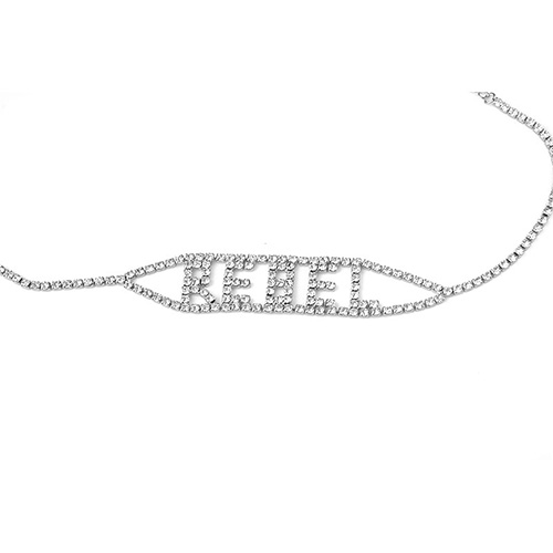 Art- und Weisebuchstaben-Rhinestone-dekorative silberne Metallhalskette