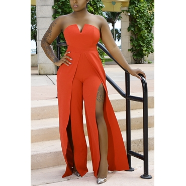 Euramerican Dew Shoulder High Split Orange Healthy Fabric One-piece Jumpsuits (Without Belt)