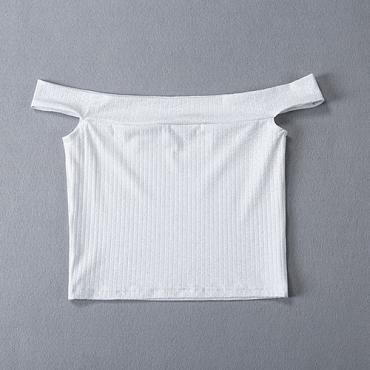 Charming Dew Shoulder Short Sleeves White Polyester T-shirt
