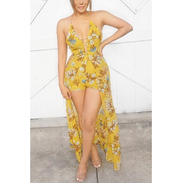 Sexy Printed Backless Yellow Cotton Blends One-piece Skinny Jumpsuits