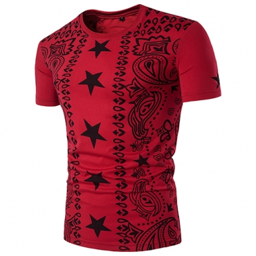Leisure Round Neck Short Sleeves Printed Red Cotton T-shirt