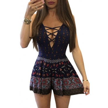 Sexy V Neck Printed Qmilch One-piece Jumpsuits
