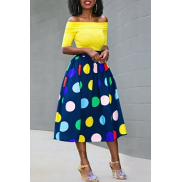 Charming Dew Shoulder Dots Printed Healthy Fabric Two-piece Skirt Set