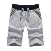 Leisure Elastic Waist Grey Cotton Blends Shorts