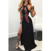Sexy Embroidery High Split Black Cotton Blend Ankl
