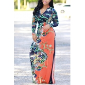 Euramerican V Neck Long Sleeves Floral Print Orange Healthy Fabric Floor Length Dress