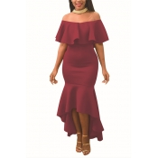 Charming Dew Shoulder Falbala Design Wine Red Polyester Ankle Length Dress