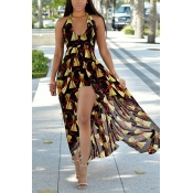 Stylish V Neck Sleeveless Printed Yellow Chiffon One-piece Skinny Jumpsuits