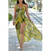 Stylish V Neck Sleeveless Printed Green Chiffon One-piece Skinny Jumpsuits