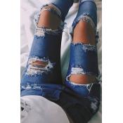 Trendy High Waist Broken Holes Dark Blue Jeans