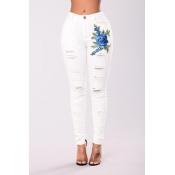Trendy High Waist Cotton Embroidered Design White