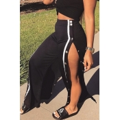 Trendy Elastic Waist High Split Black Qmilch Pants