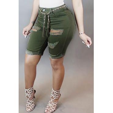 Trendy High Waist Broken Holes Green Denim Skinny Shorts(Without Belt)
