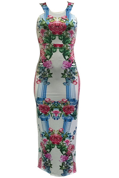 Stylish Round Neck Spaghetti Strap Sleeveless Floral Print Qmilch Sheath Ankle Length Dress