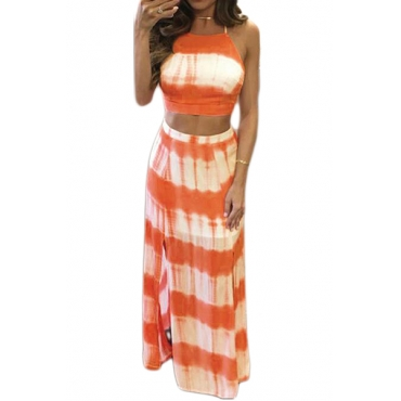 Stylish Round Neck Sleeveless Striped Orange Qmilch Two-piece Skirt Set(Non Positioning Printing)