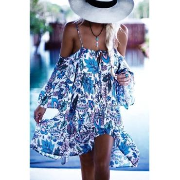 Euramerican Printed Cotton Knee Length Dress(Non Positioning Printing)