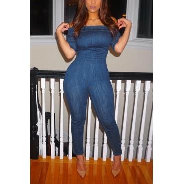 Stylish Dew Shoulder Short Sleeves Dark Blue Denim One-piece Skinny Jumpsuits