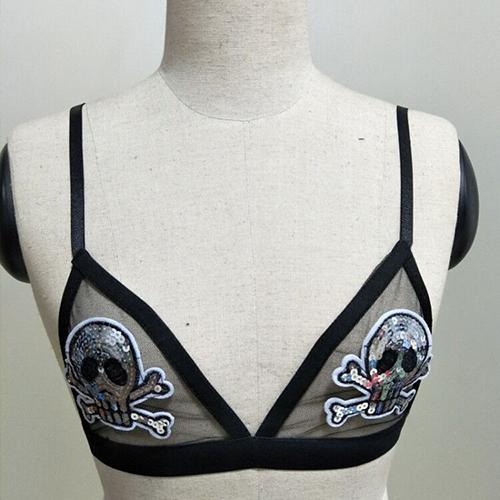 Reggiseno sexy spandex nero visibile