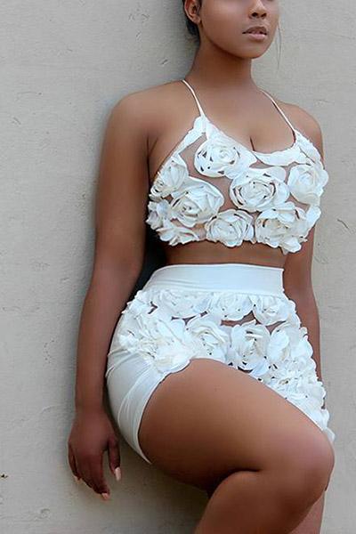 Robe sans couture en forme de U en coton sans manches décorée en mousseline de soie en dentelle blanche