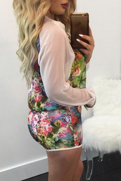 Euramerican Floral Print Twp-piece Shorts Set