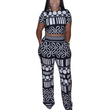 Leisure Round Neck Short Sleeves Printed Black Knitting Two-piece Pants Set