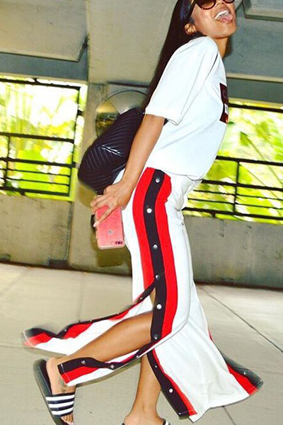 Freizeit Elastische Taille High Slit Weiß Milch Faser Hosen
