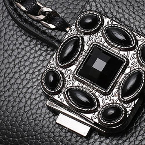 Fashion Zipper Design Black PU Crossbody Bag