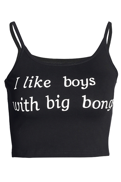 Leisure Round Neck Short Sleeves Letters Printing Black Cotton Tank Top
